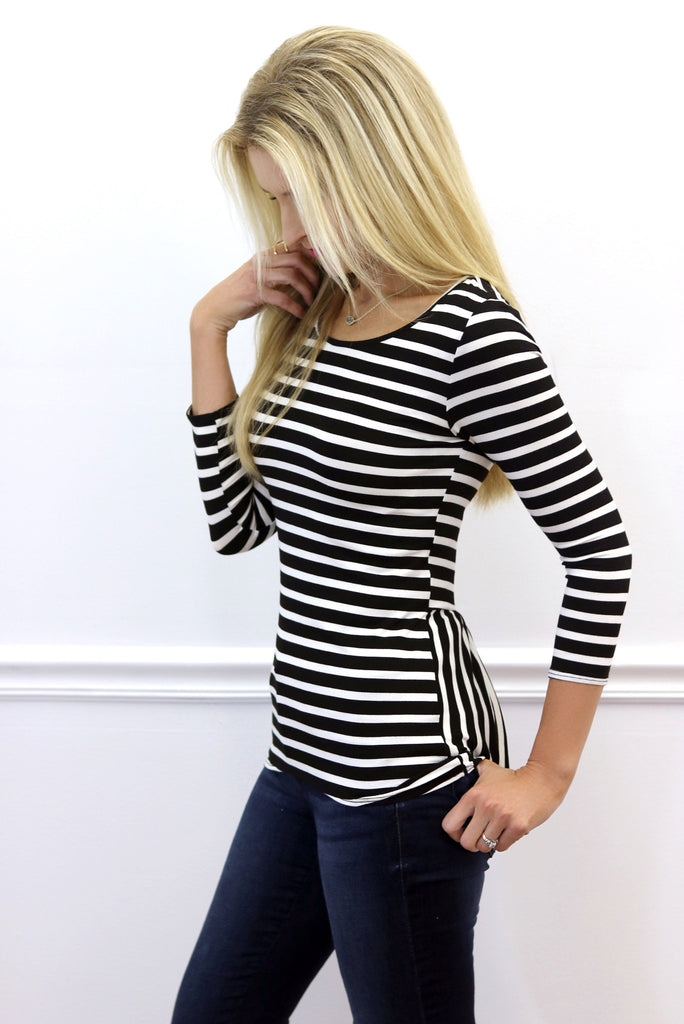 Cassidy Striped Pleated Back Top