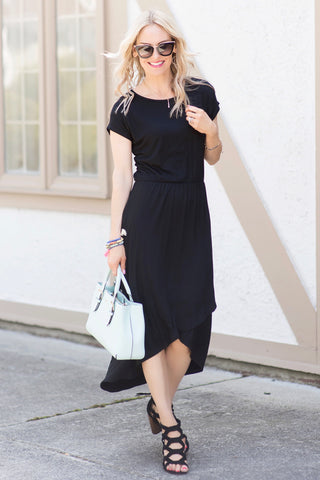 Elizabeth Black Faux-Wrap High-Low Midi Dress
