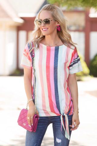 Lottie Multicolor Striped Side Tie Top