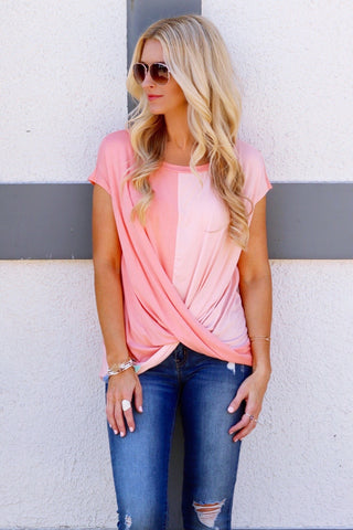 Savvi Blush and Light Coral Criss-Cross Two-Tone Top