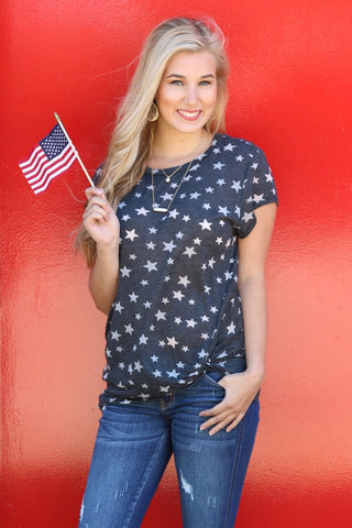 Liberty Navy Star Print Knotted Tee