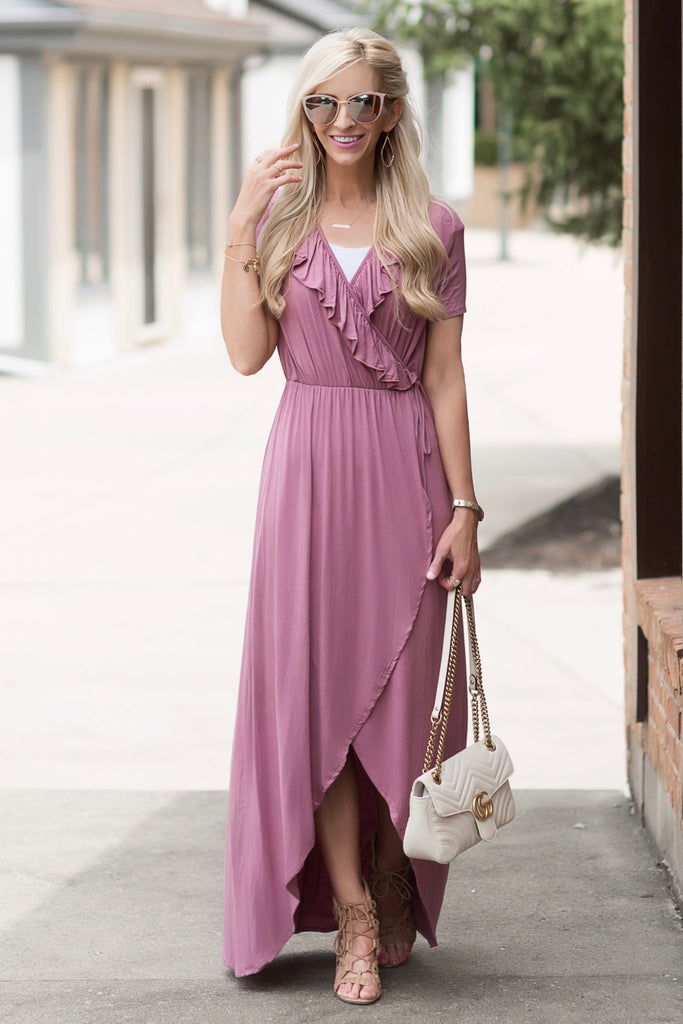 Mae Mauve Faux-Wrap Maxi Dress