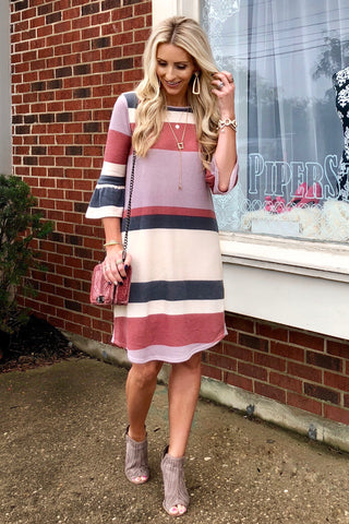 Destiny Pink and Purple Striped Midi Dress