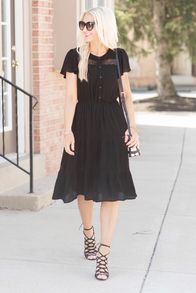 Chandler Black Lace Trim Midi Dress