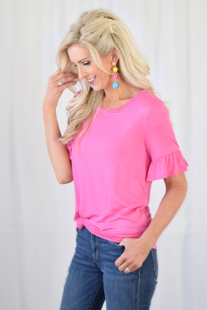 Donna Pink Ruffle Sleeve Top