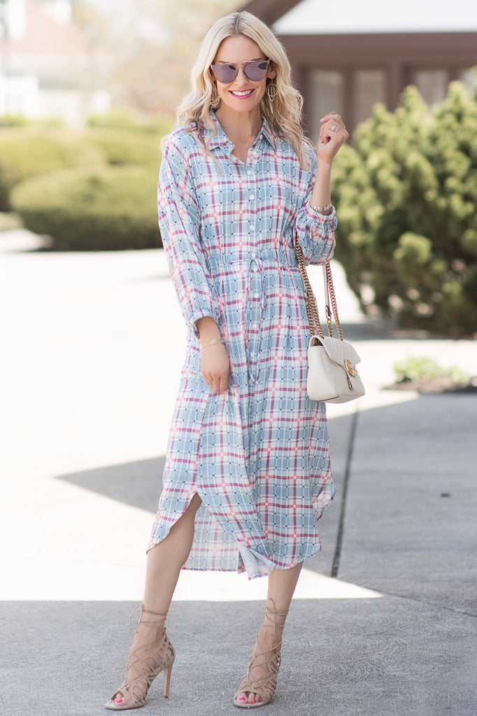 Cassidy Light Blue and Maroon Plaid Button Down Midi Dress