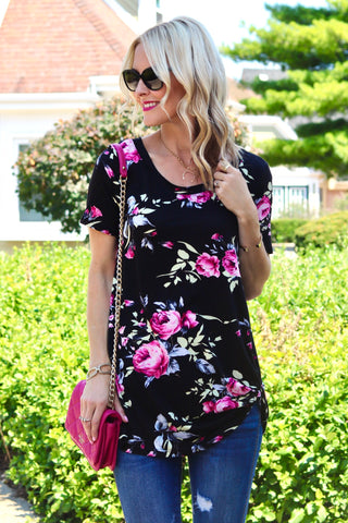 Adley Black and Hot Pink Floral Knotted Top