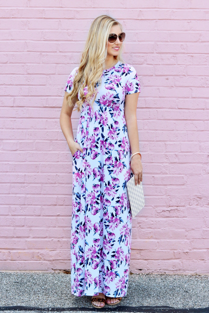Cara White Floral Maxi Dress
