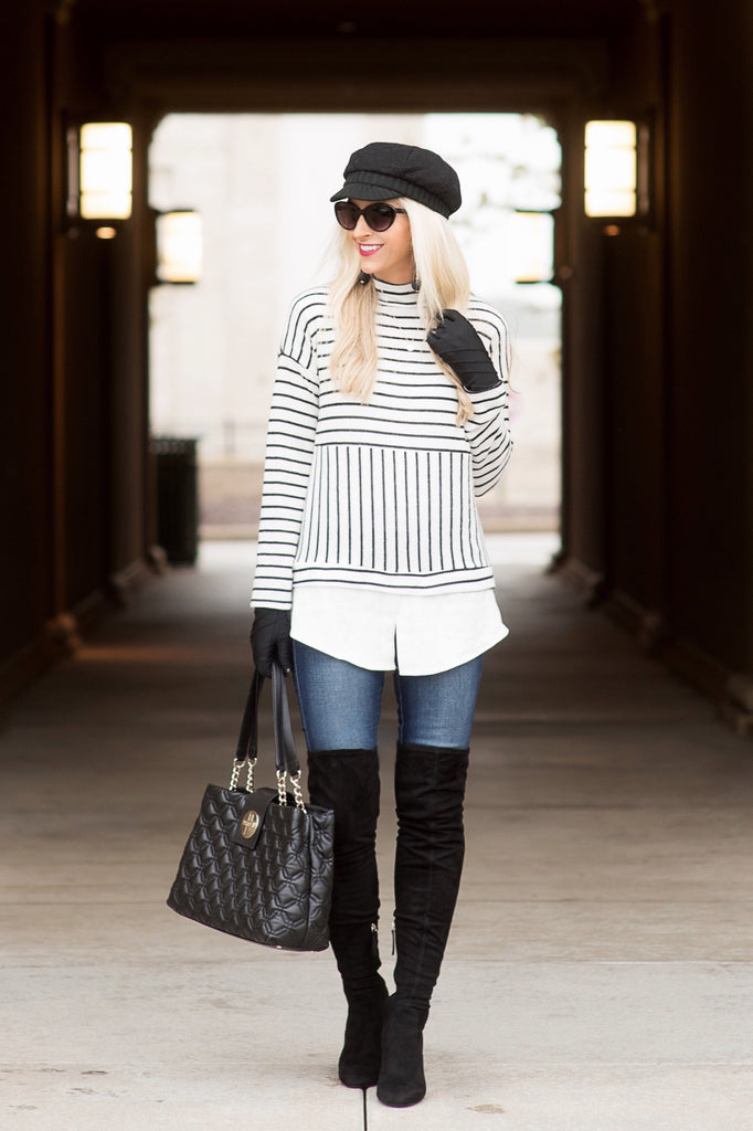 Brynn White and Black Striped Turtleneck Layered Top