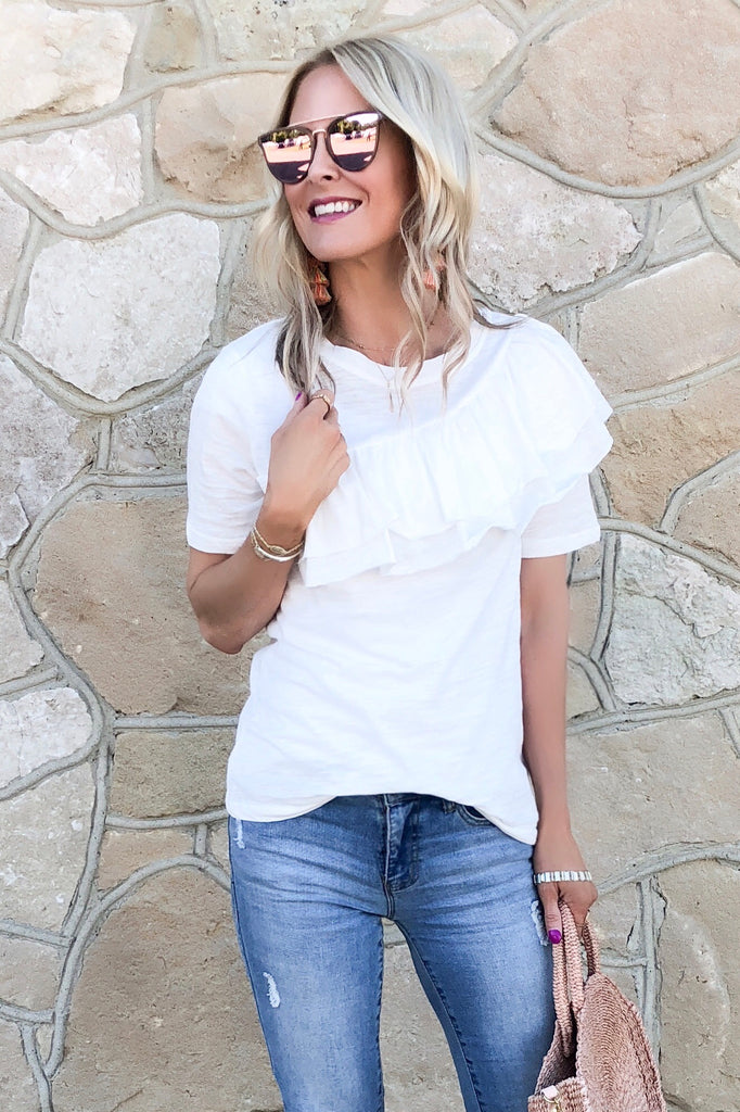 Betsey White Ruffle Front Top