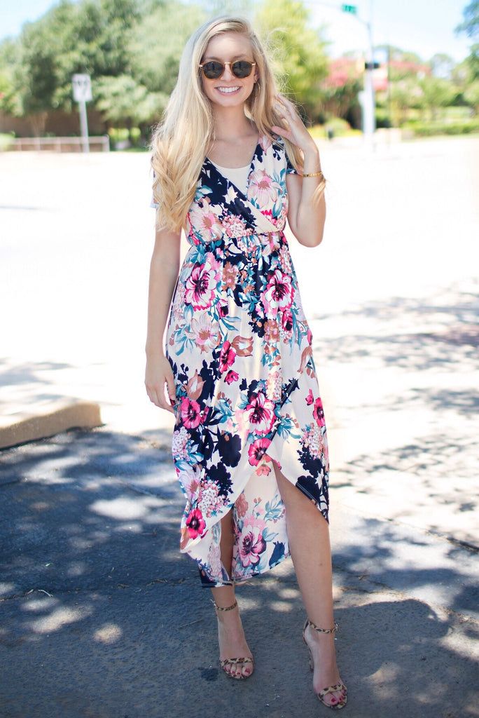 Hallie Ivory Floral High-Low Maxi Dress
