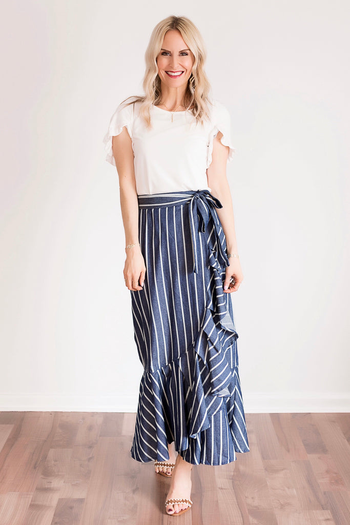 Tate Blue Striped Ruffle Wrap Maxi Skirt