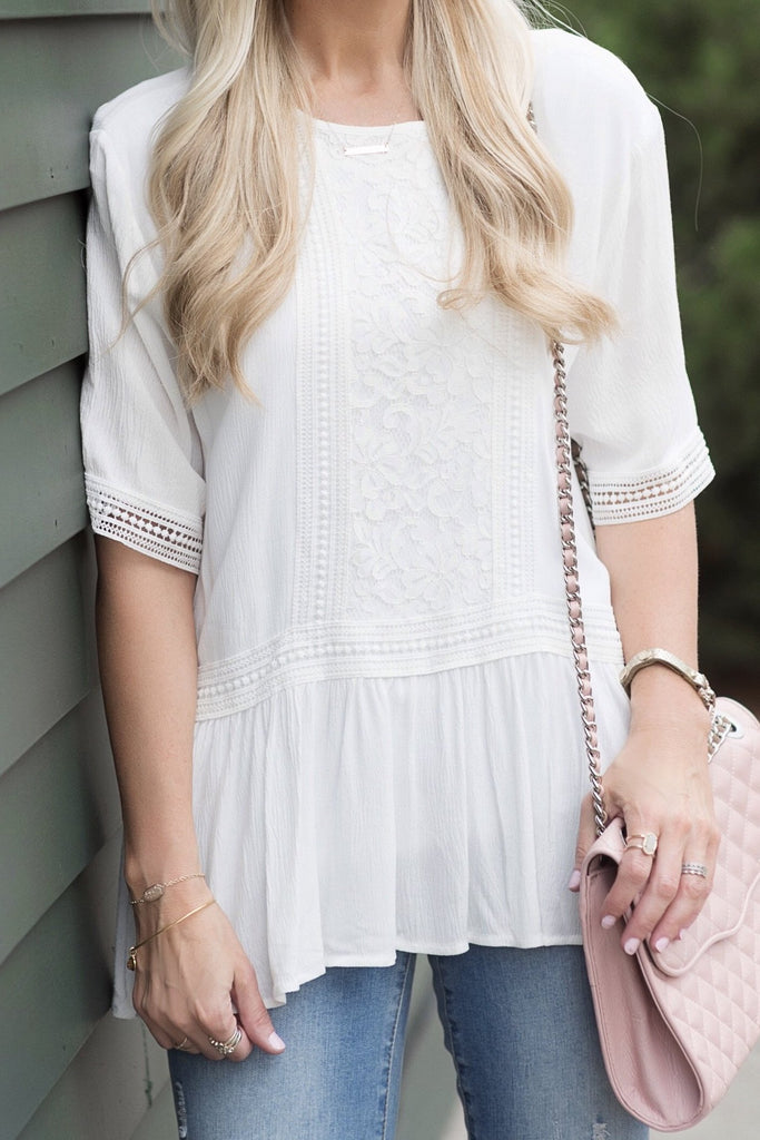 Melody White Embroidered Peplum Top