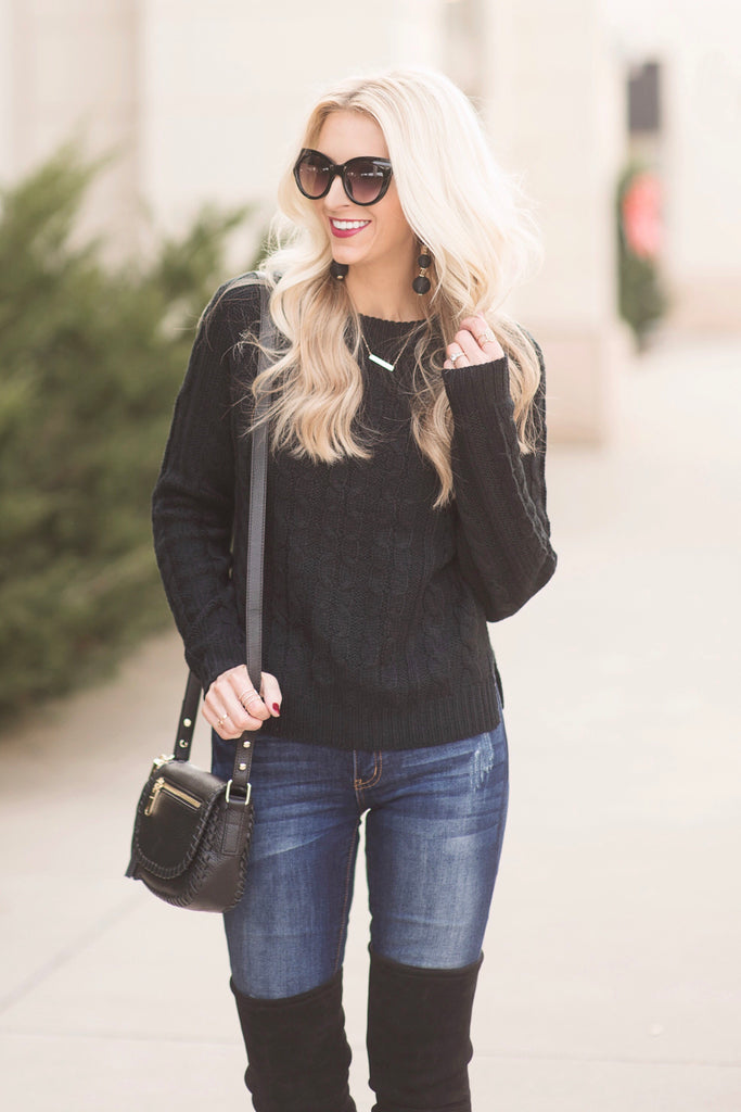 Cleo Black Cable Knit Sweater