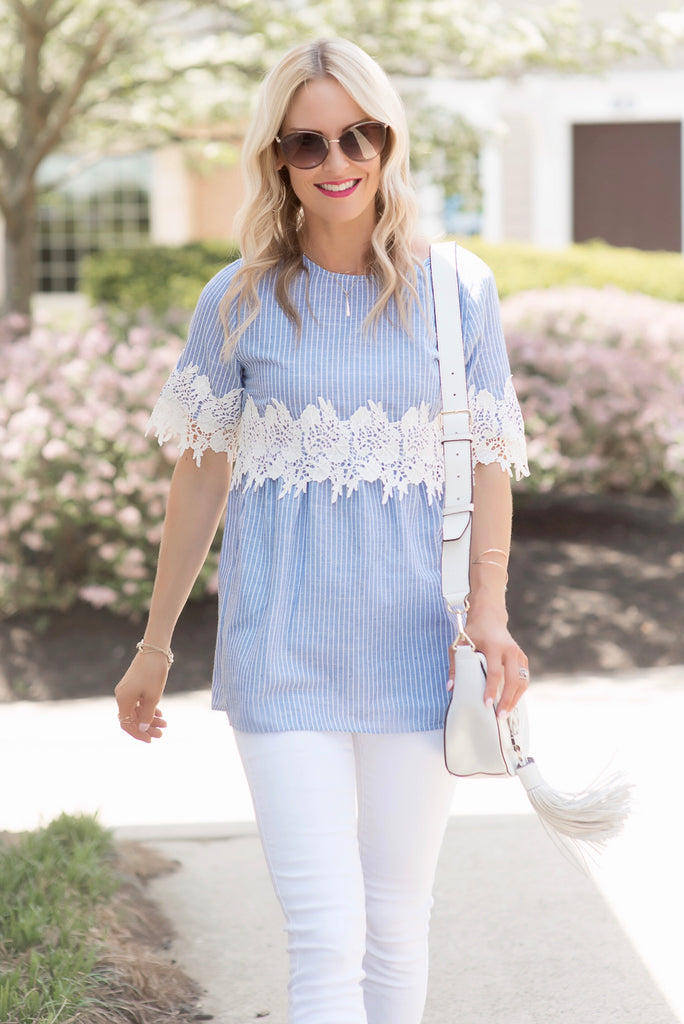 Mandy Blue Pinstripe Lace Trim Top