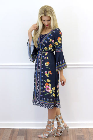 Dakota Navy Floral Midi Dress