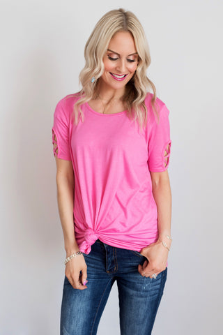 Lacey Pink Criss-Cross Sleeve Top