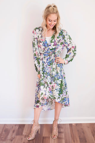 Ophelia Green Floral Wrap High-Low Midi Dress