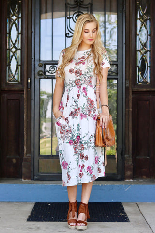 Lisa White Floral Midi Dress