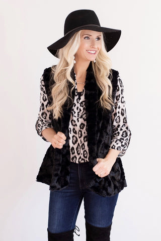 Eva Black Faux Fur Vest