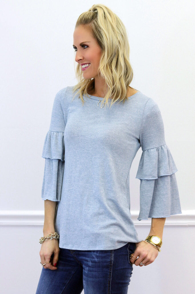 Laney Blue Ruffle Sleeve Top