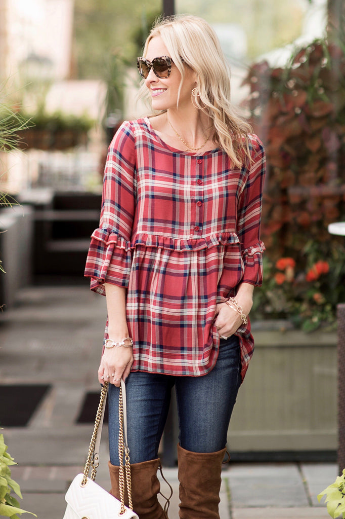 Brittany Red Plaid Peplum Top