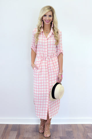 Skyler Pink Plaid Midi Shirtdress
