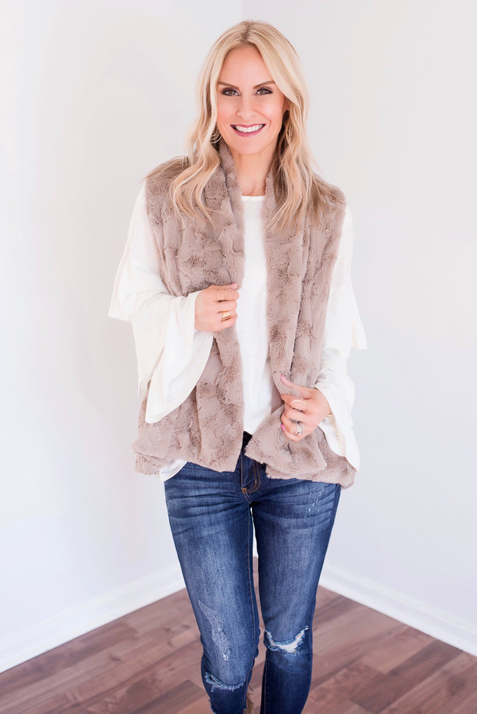 Avery Taupe Faux Fur Vest