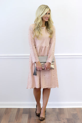 Whitney Blush Lace Midi Dress