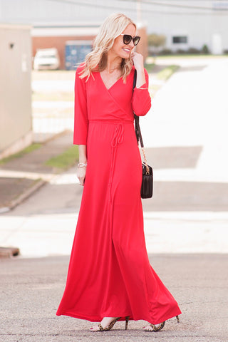 Celine Red Faux-Wrap Maxi Dress