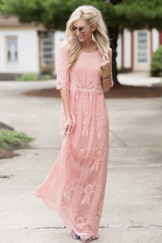 Sierra Pink Lace Maxi Dress