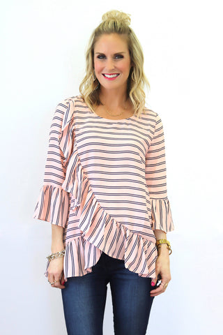 Haven Pink and Navy Ruffle Top
