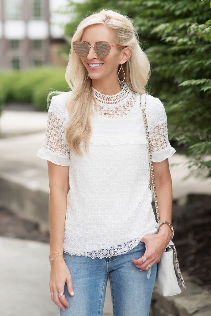 Clara White Lace High Neck Top