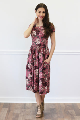 McKinley Mauve Floral Midi Dress