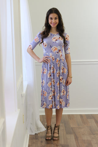 Mazie Lavender Pleated Floral Midi Dress