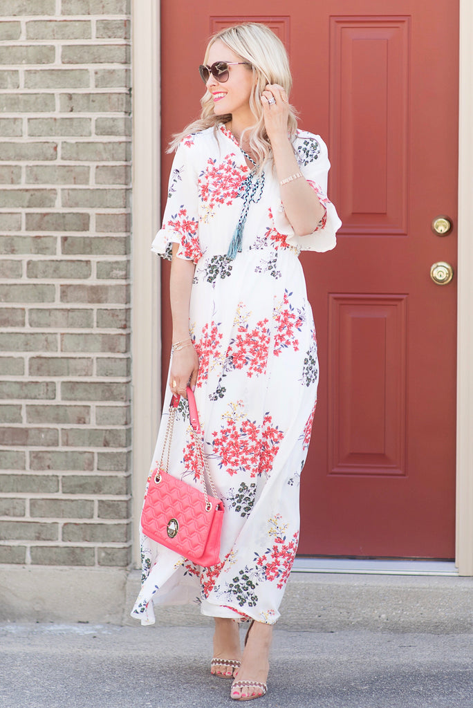 Katie White Floral Maxi Dress