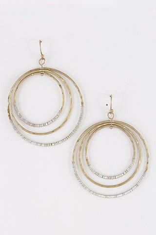 Triple Hoop Silver and Gold Earrings