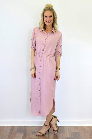 Bella Blush Midi Shirtdress