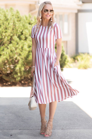 Hazel White and Rose Striped Midi Dress
