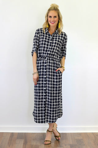 Zoe Navy Plaid Midi Shirtdress