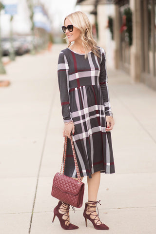 Paislee Grey Plaid Midi Dress