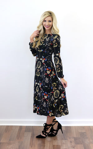 Zara Black Floral Midi Dress