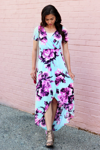 Rosie Baby Blue and Magenta High-Low Maxi Dress