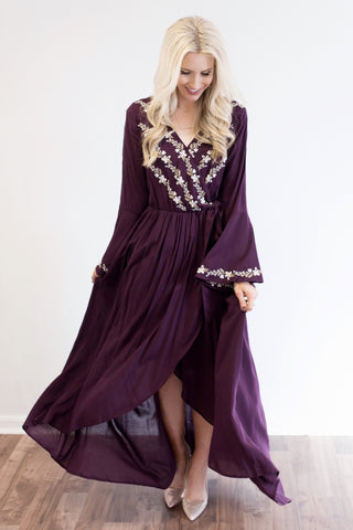 Delaney Violet Embroidered Faux-Wrap Maxi Dress