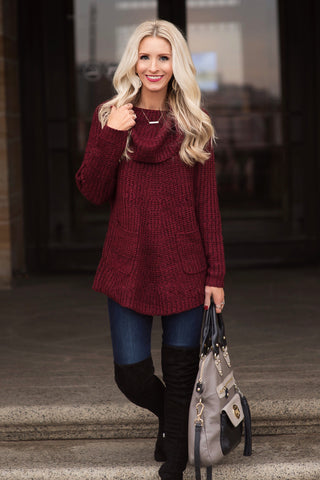 Kendall Maroon Cowl Neck Sweater