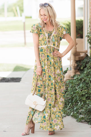 Jill Mustard Yellow Floral Maxi Dress