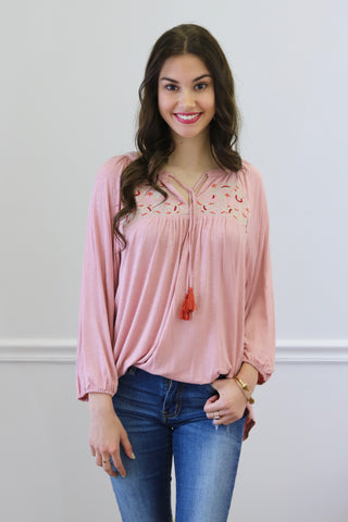 Stella Pink Embroidered Top
