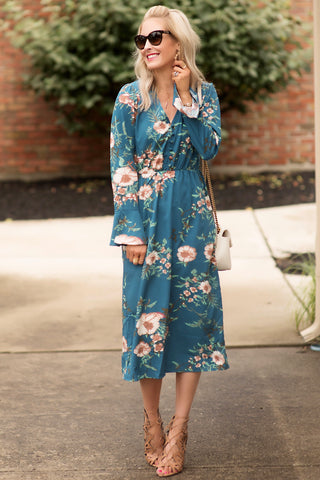 Cassandra Teal Floral Midi Dress
