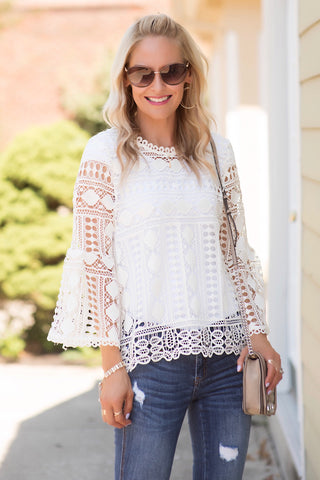 Demi Ivory Lace Top