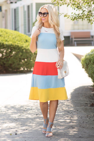 April Multi Colorblock Midi Dress